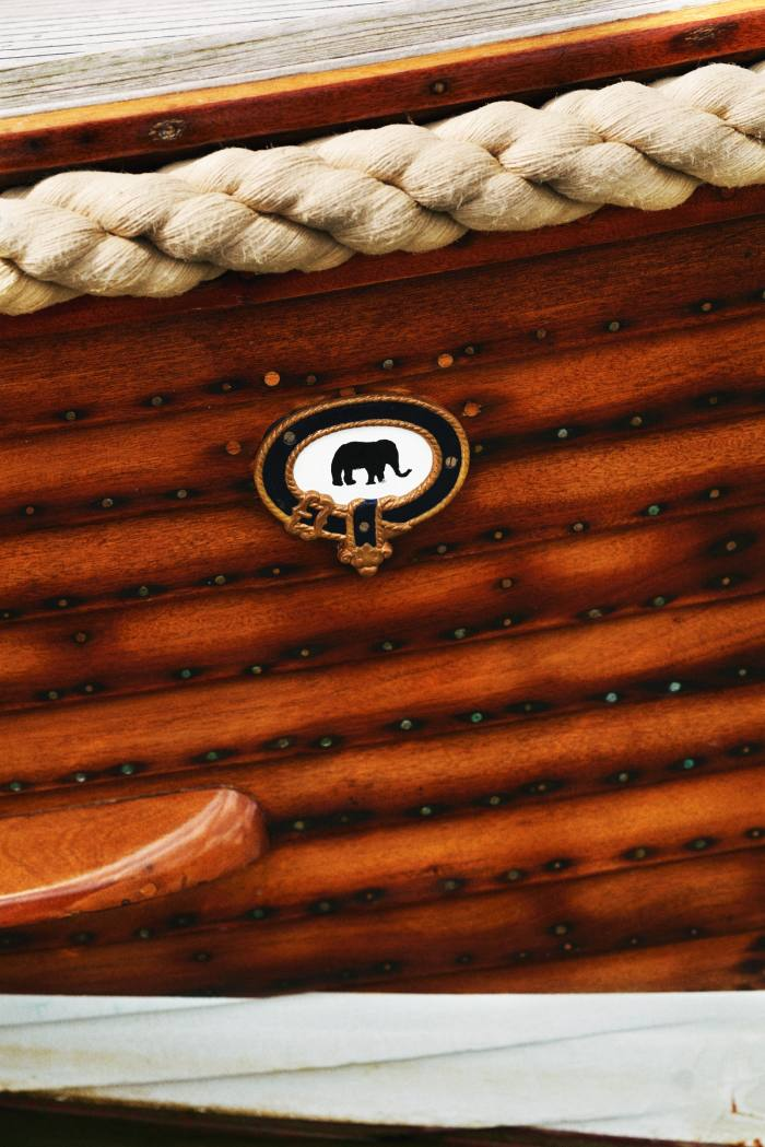 The boatyard's badge on Jo, a classic Nelson yacht