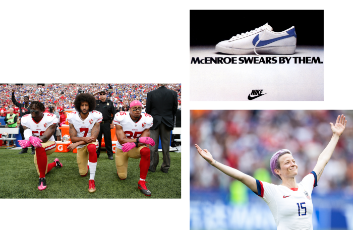 A 1980s ad referencing tennis player John McEnroe's fiery reputation; soccer star Megan Rapinoe, who appears in a Nike ad that states: 'We have a responsibility to make this world a better place'; Colin Kaepernick (centre) taking the knee in 2016
