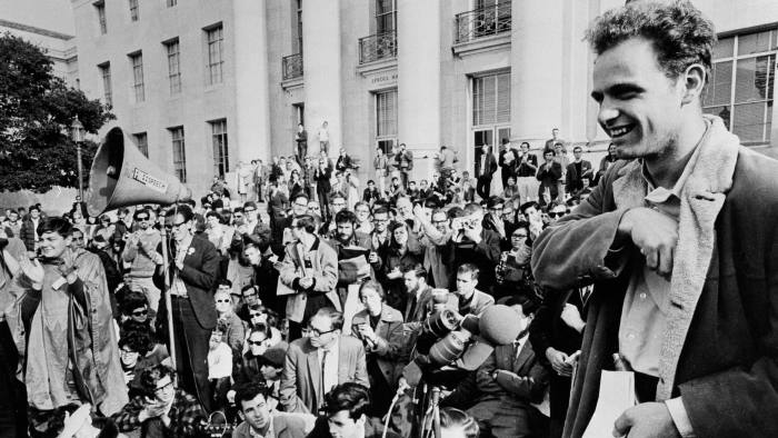 Students campaign for free speech at the University of California, Berkeley in 1964. Today's radicals, like those of the 1960s, sometimes express their demands in extreme terms