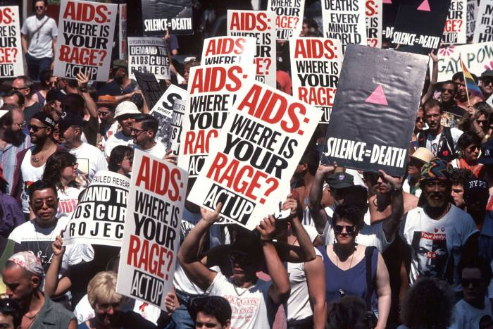 A protest by Act Up against the AIDS crisis, in New York in 1994
