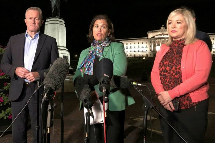 Sinn Fein's Connor Murphy, Mary Lou McDonald and Michelle O'Neal at the Stormont press conference