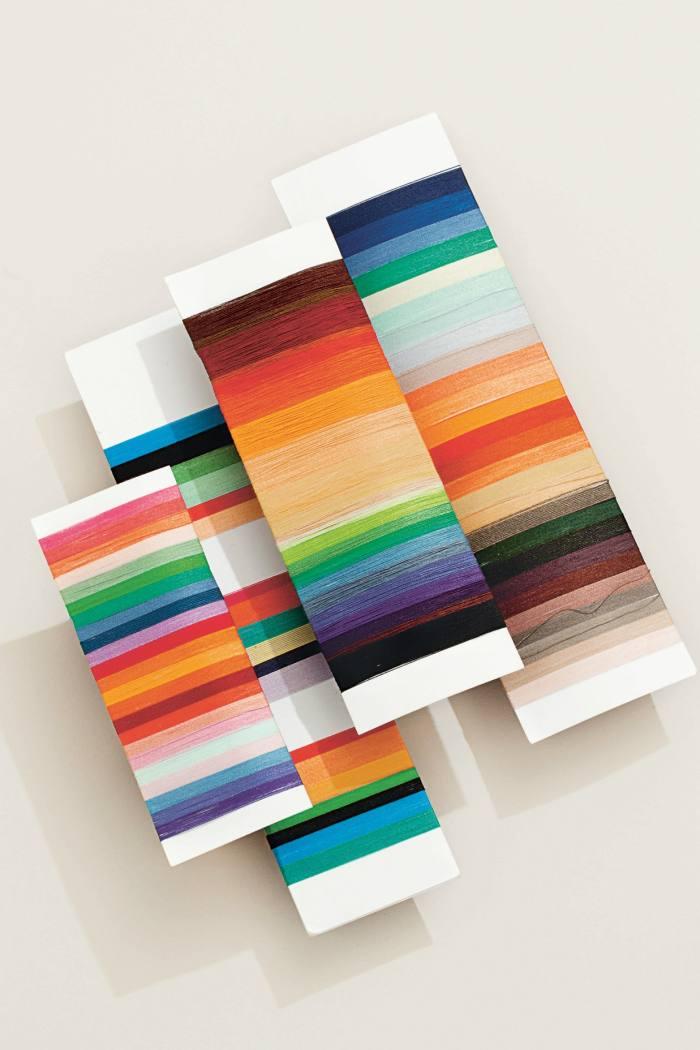 Yarn windings inSmith's trademark colourful stripes