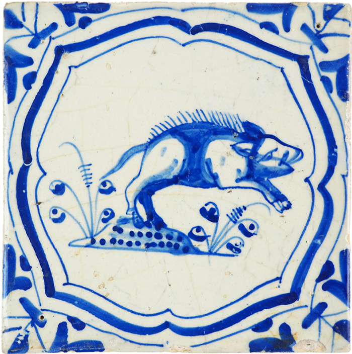 Delft tile with wild boar, c1650, from specialist Durk Regts