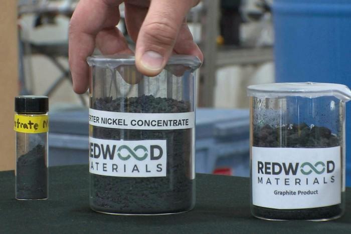 Pulverised nickel at the Redwood's warehouse