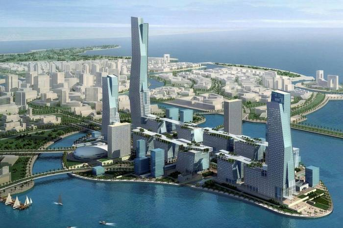 An illustration of Neom, a $500bn futuristic city project