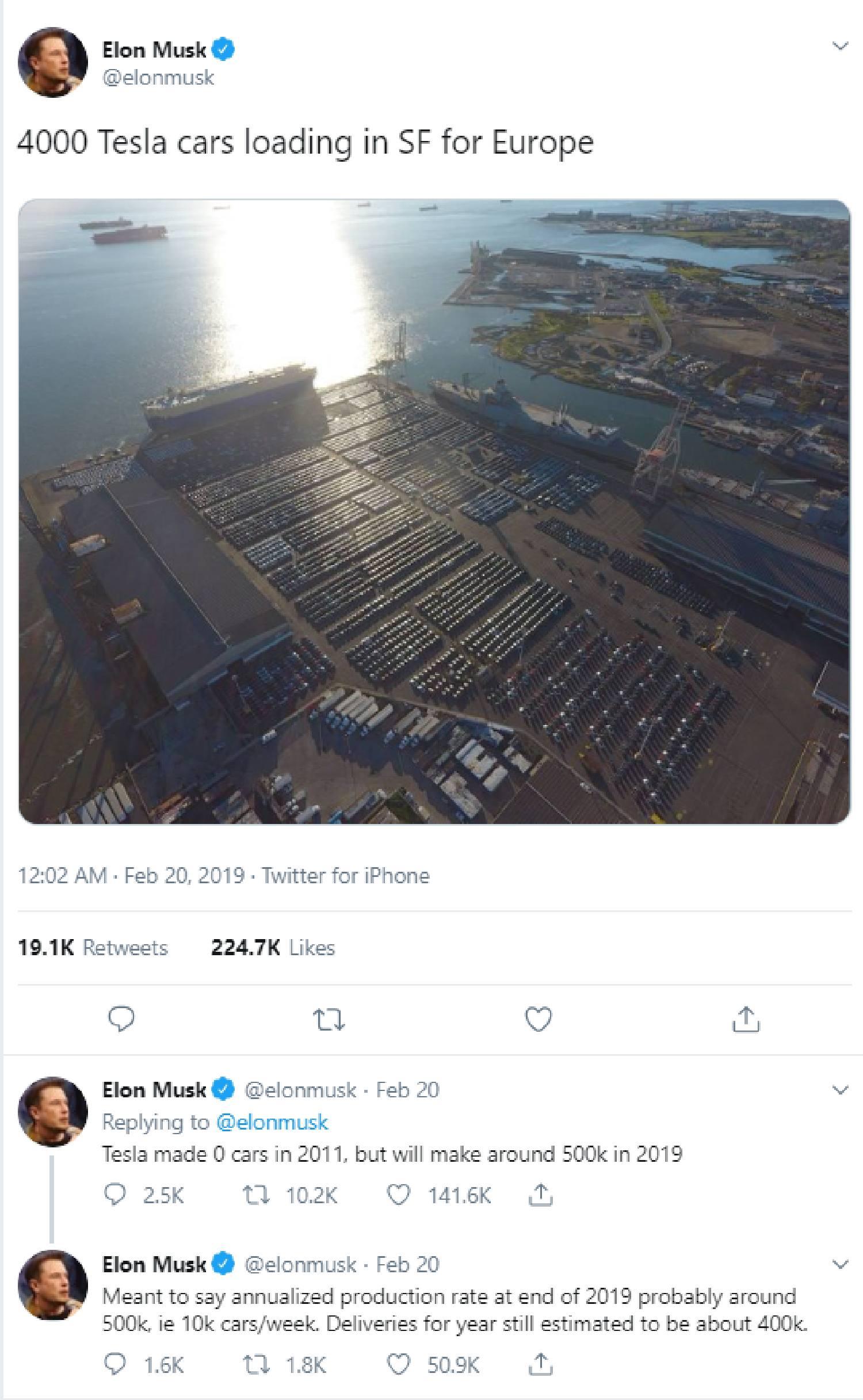 Voll beladene Schiffe mit Tesla-Fahrzeugen