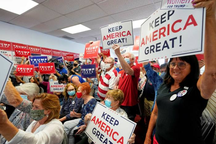 Trump supporters in Nebraska. The president's America First  campaign has proved very popular with the Republican party grassroots