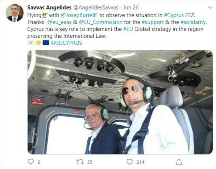 Josep Borrell, Europe's top diplomat, on a helicopter flight with Cypriot politician Savvas Angelides over the disputed waters of the island of Cyprus at the end of June