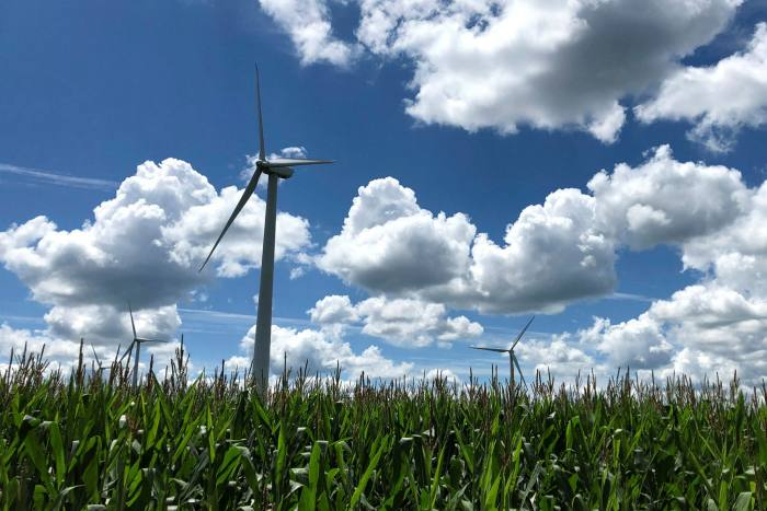 The Noble Bliss Windpark, among grain and dairy farms in in Wyoming county, New York