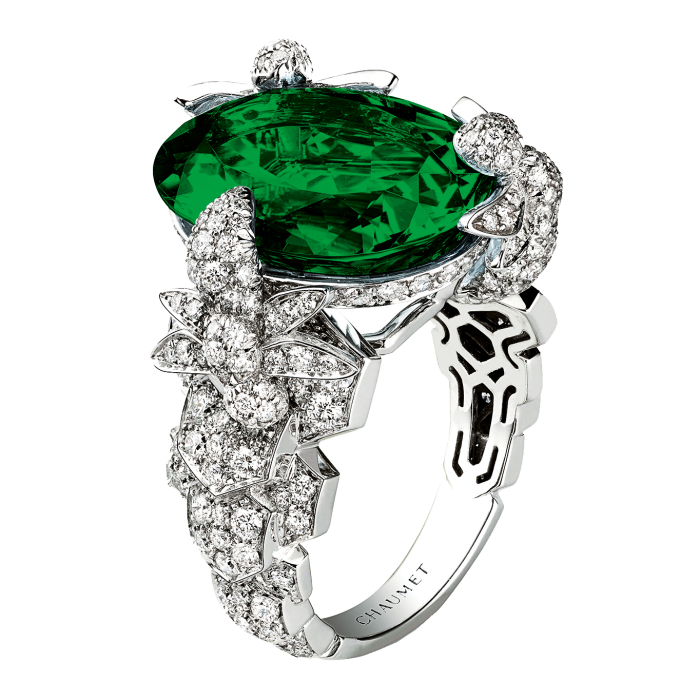 Chaumet greentourmaline, diamond and 18ct-white-gold Bee MyLove Exquises cocktail ring, POA