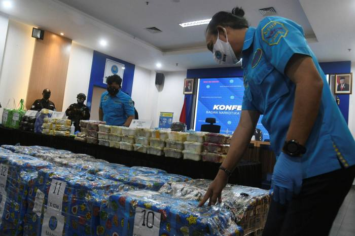 Confiscated packets of methamphetamine at the offices of the National Narcotics Board of the Republic of Indonesia in Cawang, Jakarta, in May this year