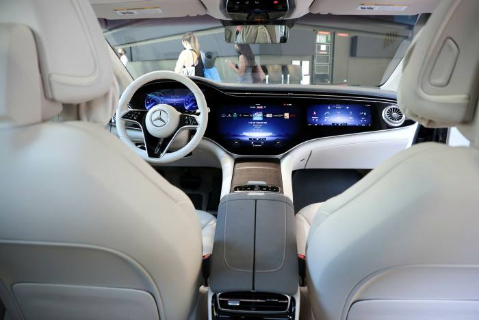 An interior view of the new Mercedes-Benz All-Electric EQS Sedan