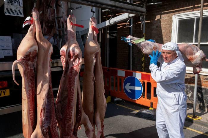 'N Vleiswerker lewer varkkarkasse aan by 'n slagter in Aylsham, Norfolk