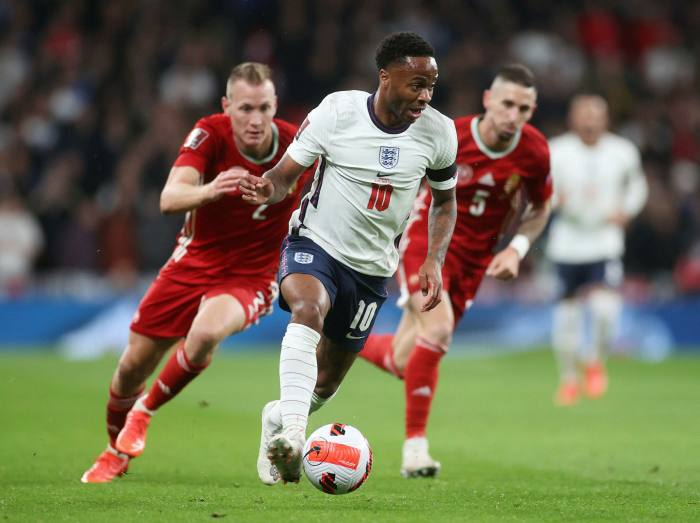 Raheem Sterling loses opponent in England match against Hungary at Wembley Stadium this month