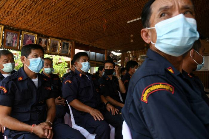 Members of a village security unit attending a drugs briefing in the northern Thai region of Nong Khai, bordering Laos, earlier this year