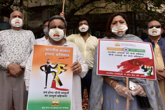 Members of the Confederation of All India Traders protesting against Chinese businesses