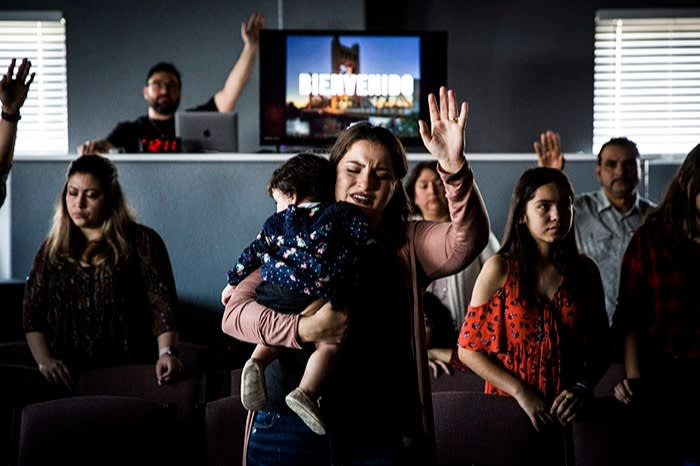 A service at the NewSeason Christian Worship Center in Sacramento, California, led by pastor Samuel Rodriguez, a staunch Trump supporter. The president is particularly popular with male, evangelical protestant Latinos