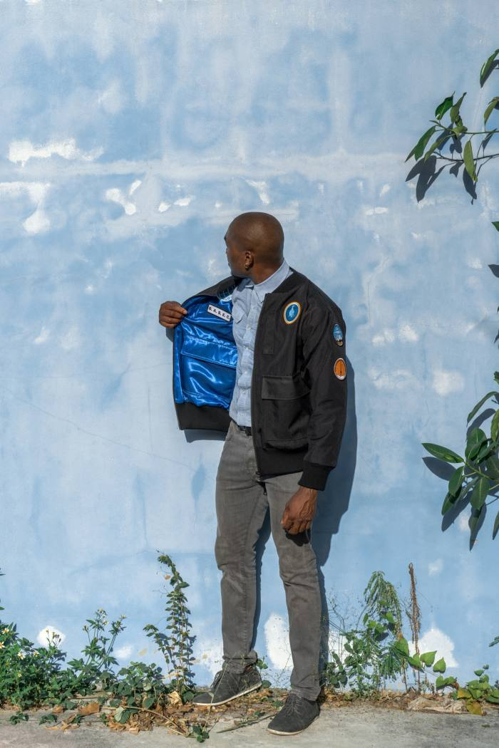 Black Square canvas bomber jacket by BASEC