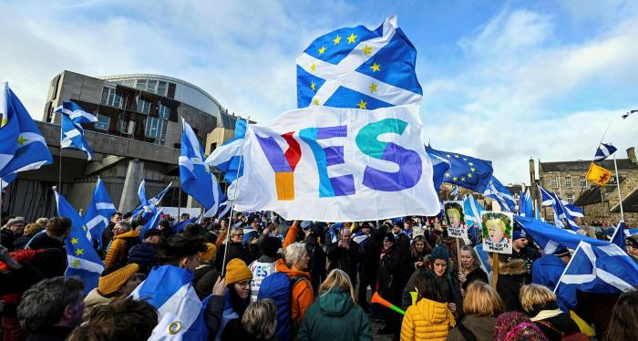 An anti-Conservative government, pro-Scottish independence and anti-Brexit protest outside Holyrood in February