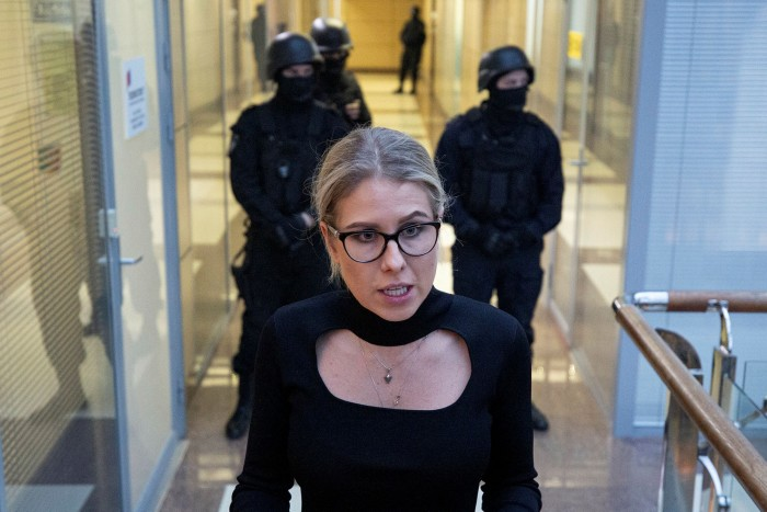 Russian opposition activist and lawyer Lyubov Sobol at the offices of the Anti-Corruption Foundation (FBK) when it was raided by police in December last year