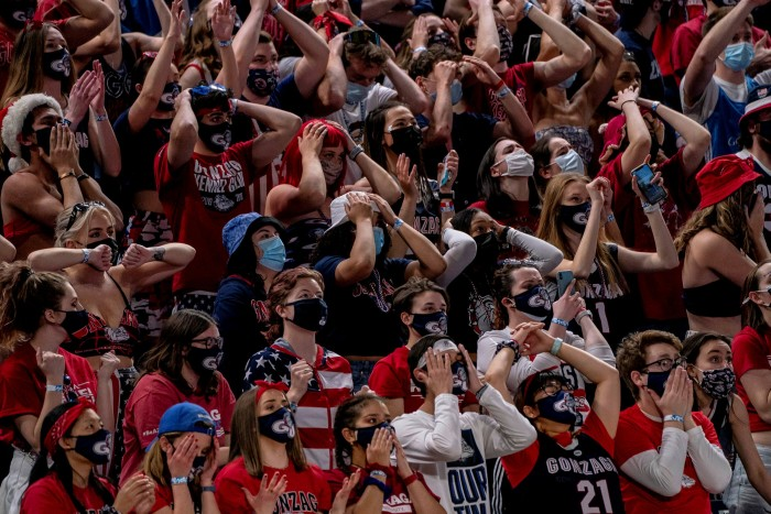 Gonzaga Bulldogs supporters watch the final of the 2021 NCAA Men's Basketball Tournament against the Baylor Bears