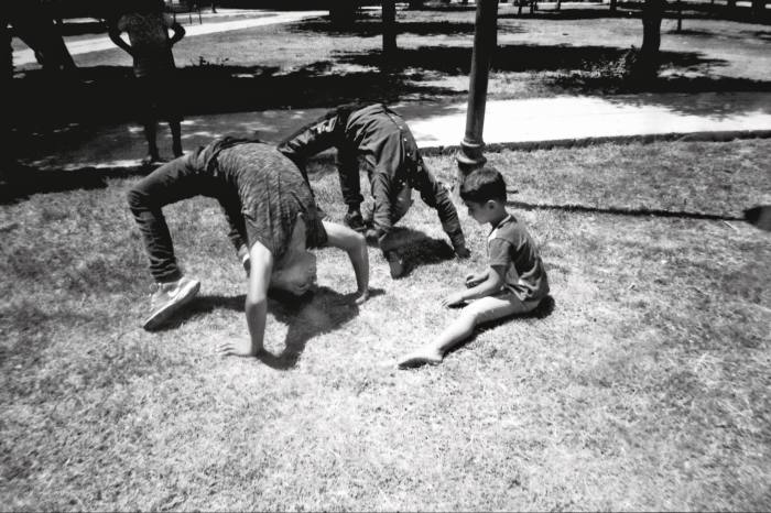 Children at a circus workshop