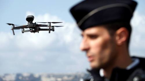 A drone in Nice, France, warns people about coronavirus lockdown rules