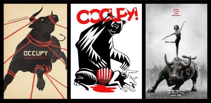 Kurumsal açgözlülüğün sembolü olarak boğayı kullanan üçlü Occupy fotoğrafları