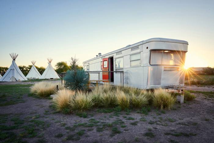 Guests at El Cosmico can stay in a trailer, tent or yurt