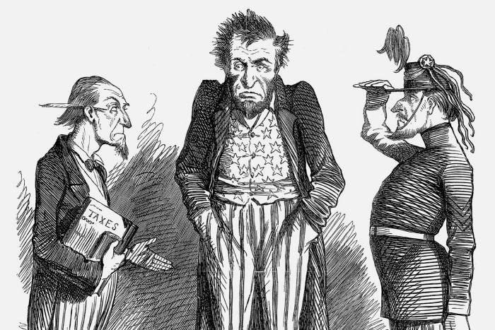 'Lincoln's Two Difficulties', 1862. Lincoln comments: 'What? No money! No men!'