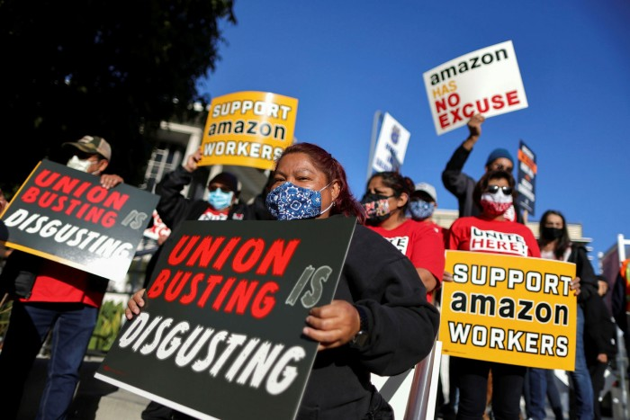 Pro-union protesters in California. Andy Jassy will take up his post as the Teamsters union declares Amazon a top priority nationwide