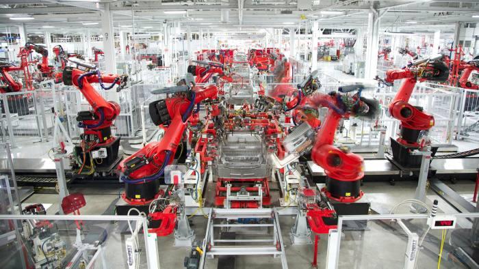 The Tesla Model Y under construction