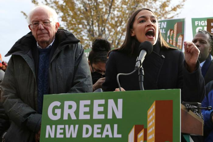 Democrats Bernie Sanders and Alexandria Ocasio-Cortez announce Green New Deal proposals in Washington