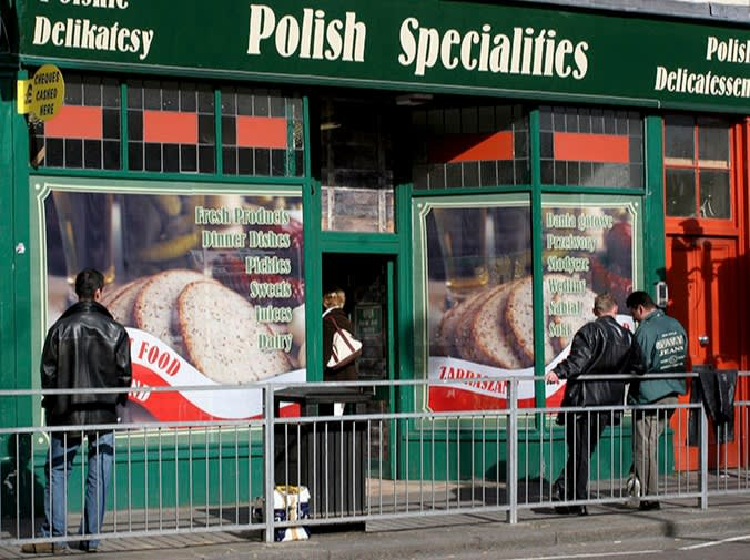 A Polish delicatessen in London, 2007. Restaurateur Jeremy King says EU migrants brought culinary expertise and culture to the UK: 'I call it the continental influence'