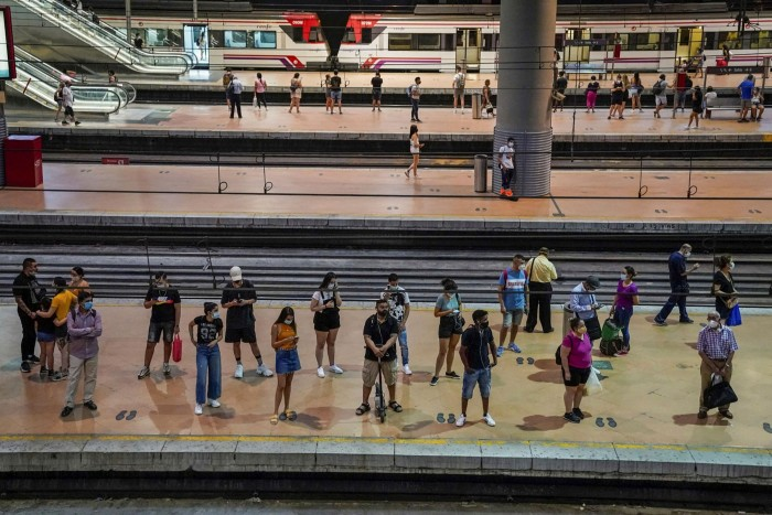 The regional services platform at Atocha rail station in Madrid, Spain, last August. Lockdowns have witnessed a surge in eco-friendly mobility policies like bike lanes
