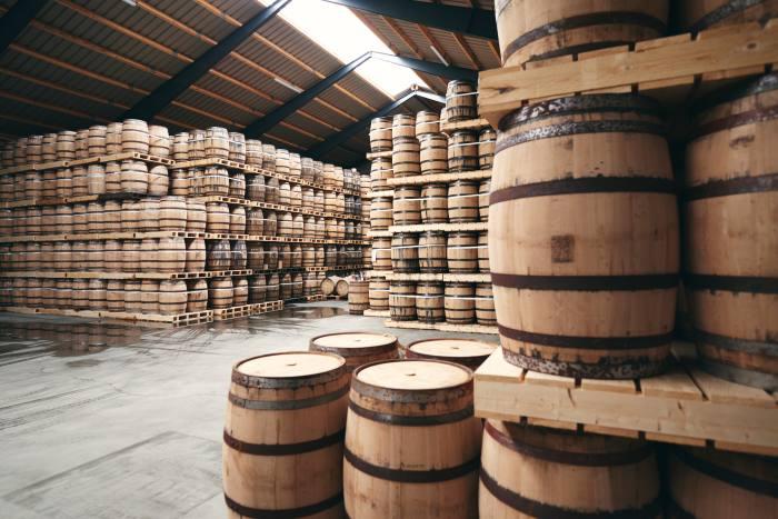 Casks at the Stauning distillery in Denmark