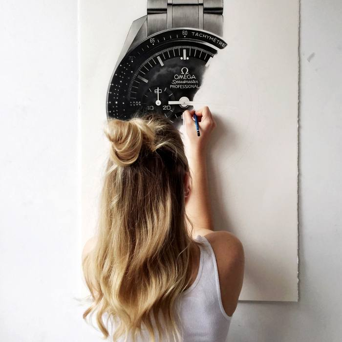 Kraulis working on an Omega Speedmaster at Tate Modern