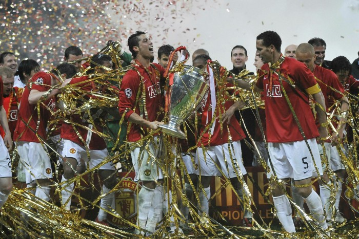 Manchester United's Cristiano Ronaldo holds the Champions League trophy after beating Chelsea in the 2008 final in Moscow. United's executive vice-presidentEd Woodward announced his resignation after the Super League debacle