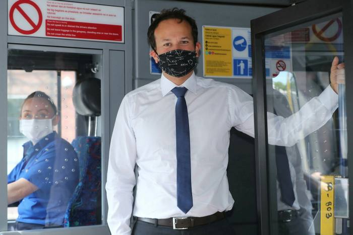 Irish taoiseach Leo Varadkar on a bus in Dublin. He will serve as deputy to Mr Martin before taking over as premier in 2022