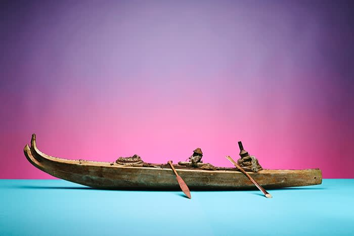 Alutiit kayak model with three seats and sea otter hunting equipment; Cook Inlet, Alaska. Before 1795