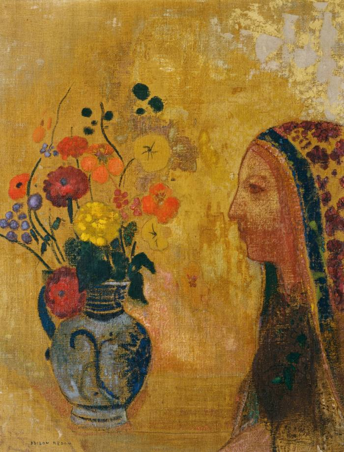 Profile of a Woman with a Vase of Flowers, c.1895, by Odilon Redon