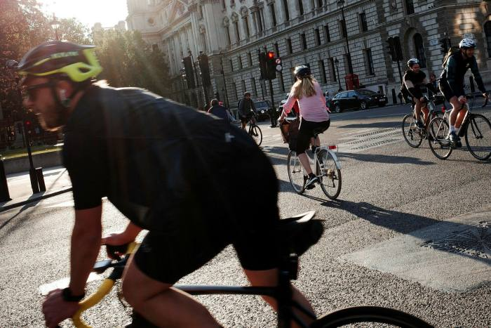 In London, bike paths have teemed with cyclists during the pleasant weather