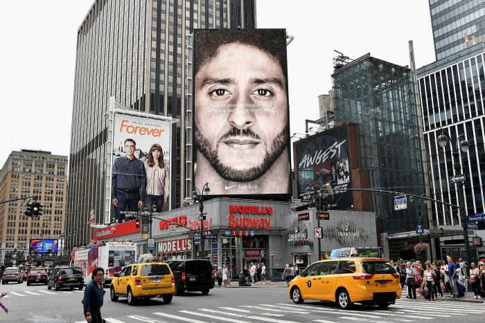 A Nike Ad featuring American football quarterback  Colin Kaepernick in New York City in 2018