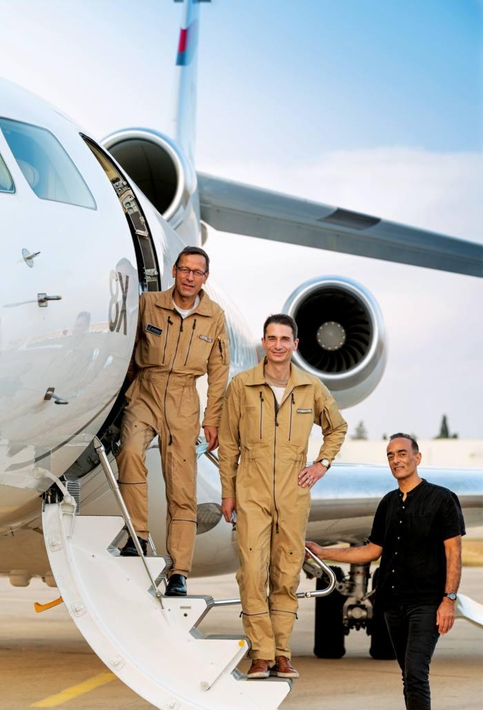 Dassault Aviation test pilotsBruno Ferry (left) and Fabrice Dougnac with Rohit Jaggi and the Falcon 8X