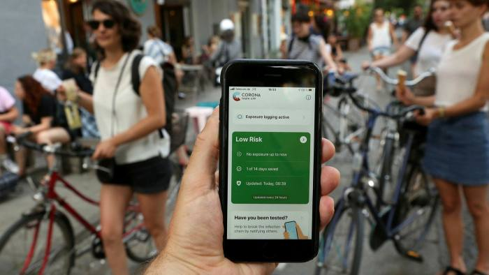 A smartphone in Berlin showing a contact-tracing app launched by the German health ministry. But an effective pan-European approach has yet to be established