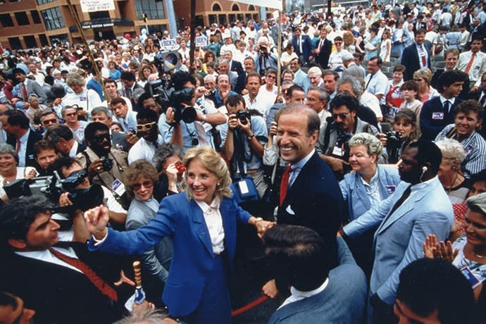 Campaigning for the Democratic nomination in the 1988 elections with Jill, his second wife, in Wilmington; 'Jill is Biden's least appreciated strength,' says one friend
