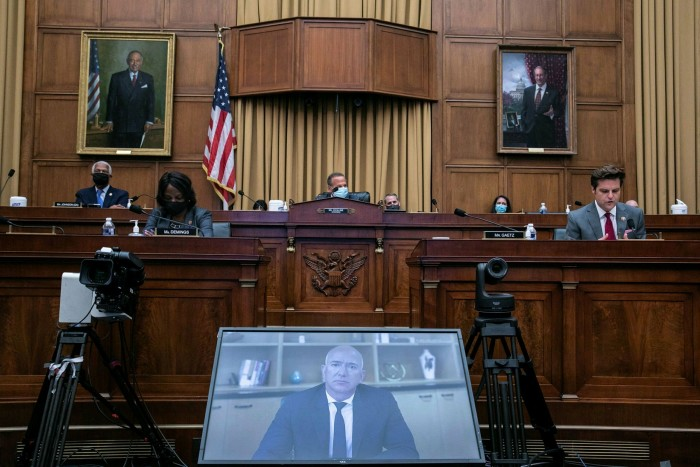 Jeff Bezos speaks via video to a House judiciary subcommittee hearing into Big Tech in 2020. Amazon is facing several individual investigations from state attorneys-general, ranging from pricing to misuse of competitors' data