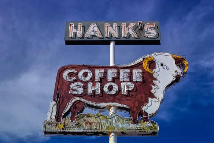 Hank's Coffee Shop sign, 4th Street, Benson, Arizona, 1979
