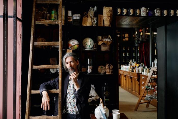Sebastian Filgueiras in his Lisbon tea shop, Companhia Portugeuza do Chá
