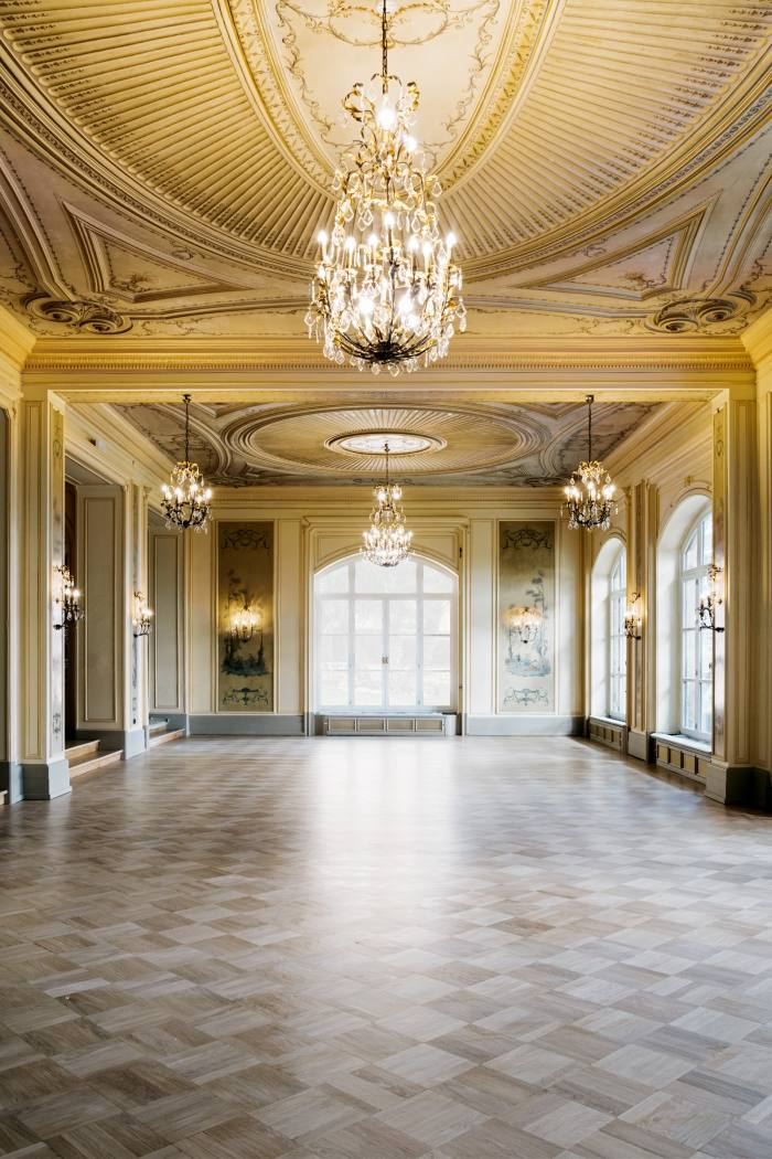 The salon, which has been restored to the glory of the Belle Epoque
